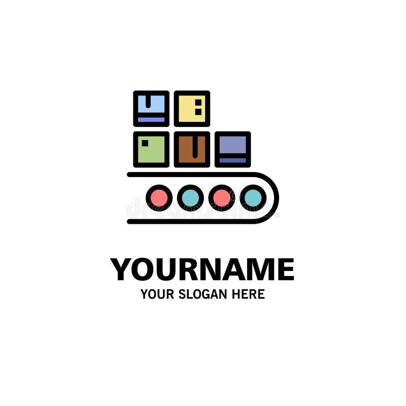 Επιχείρηση, γραμμή, διαχείριση, προϊόν, πρότυπο επιχειρησιακών λογότυπων παραγωγής Επίπεδο χρώμα ελεύθερη απεικόνιση δικαιώματος