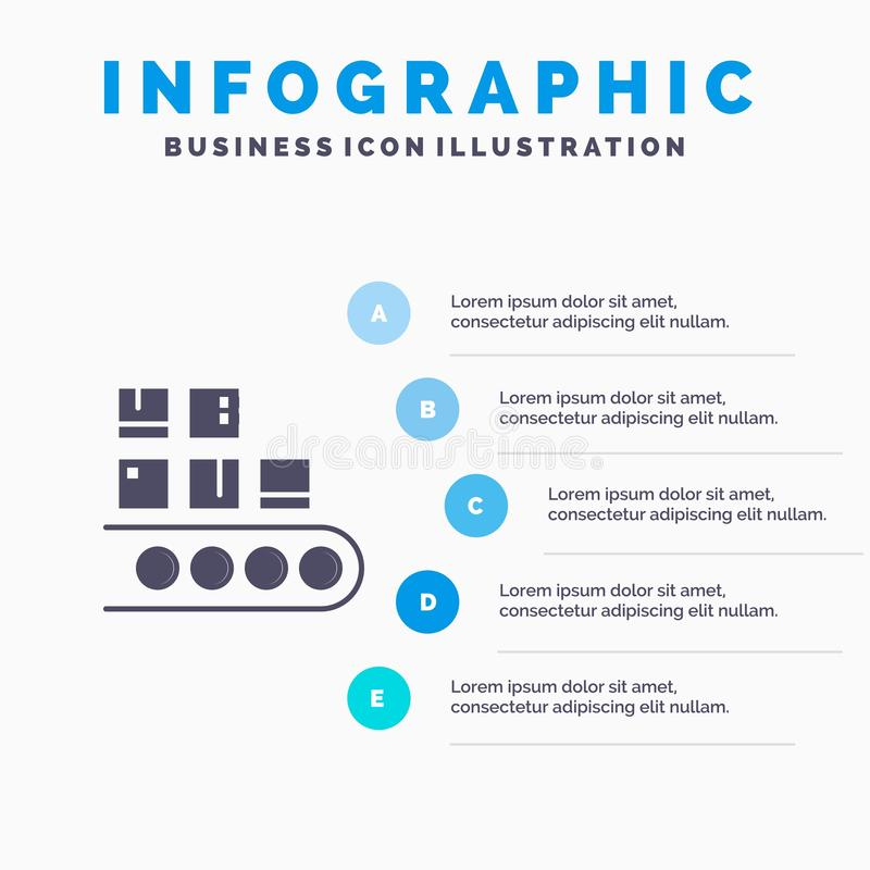 Επιχείρηση, γραμμή, διαχείριση, προϊόν, στερεό εικονίδιο Infographics 5 παραγωγής υπόβαθρο παρουσίασης βημάτων απεικόνιση αποθεμάτων
