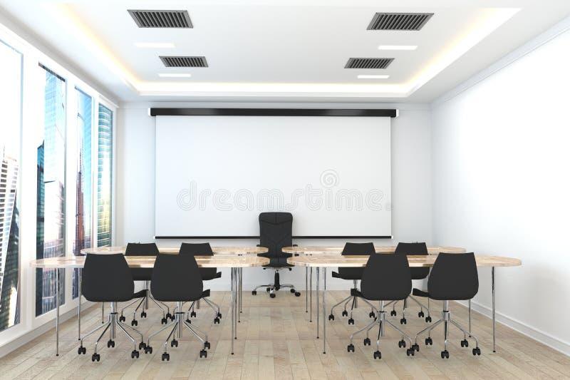 Επιχείρηση γραφείων - όμορφο δωμάτιο - εσωτερικό αίθουσας συνδιαλέξεων στο άσπρο δωμάτιο r διανυσματική απεικόνιση