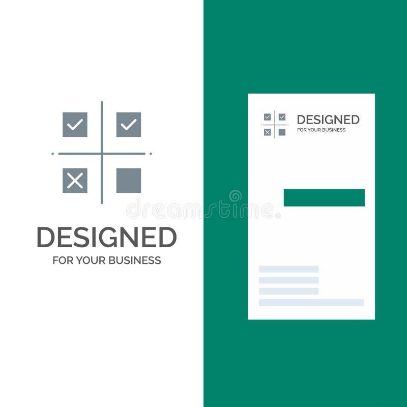 Επιχείρηση, διαχείριση, προτεραιότητες, προϊόν, γκρίζο σχέδιο λογότυπων παραγωγής και πρότυπο επαγγελματικών καρτών απεικόνιση αποθεμάτων