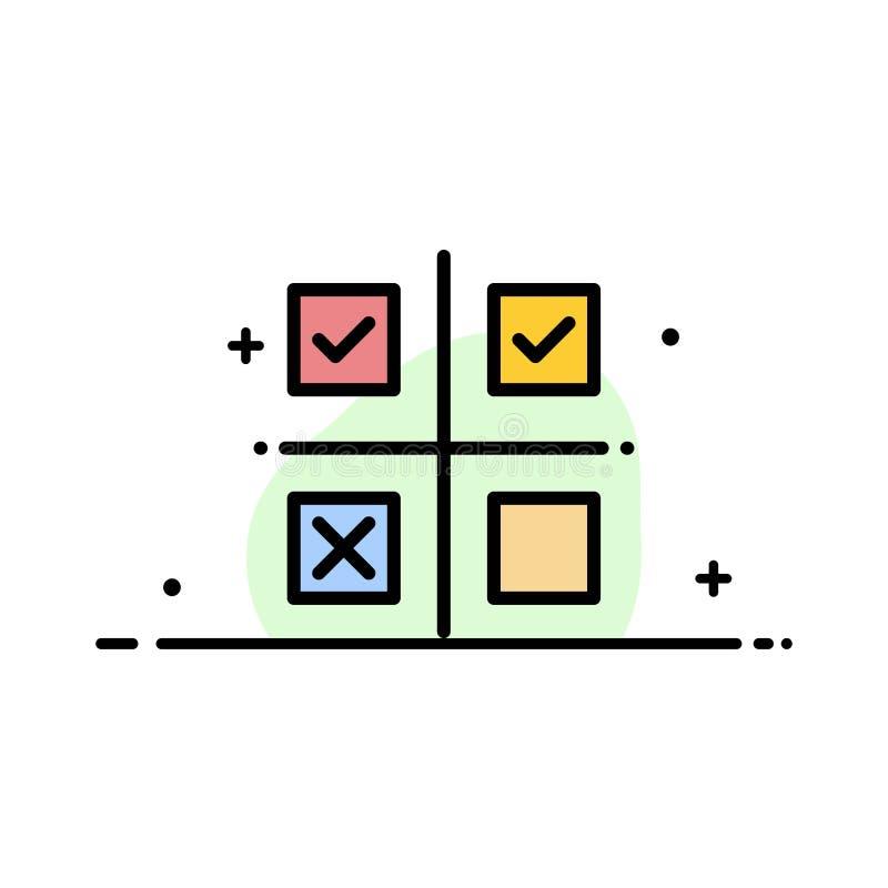 Επιχείρηση, διαχείριση, προτεραιότητες, προϊόν, παραγωγής πρότυπο εμβλημάτων επιχειρησιακών επίπεδο γεμισμένο γραμμή εικονιδίων δ απεικόνιση αποθεμάτων