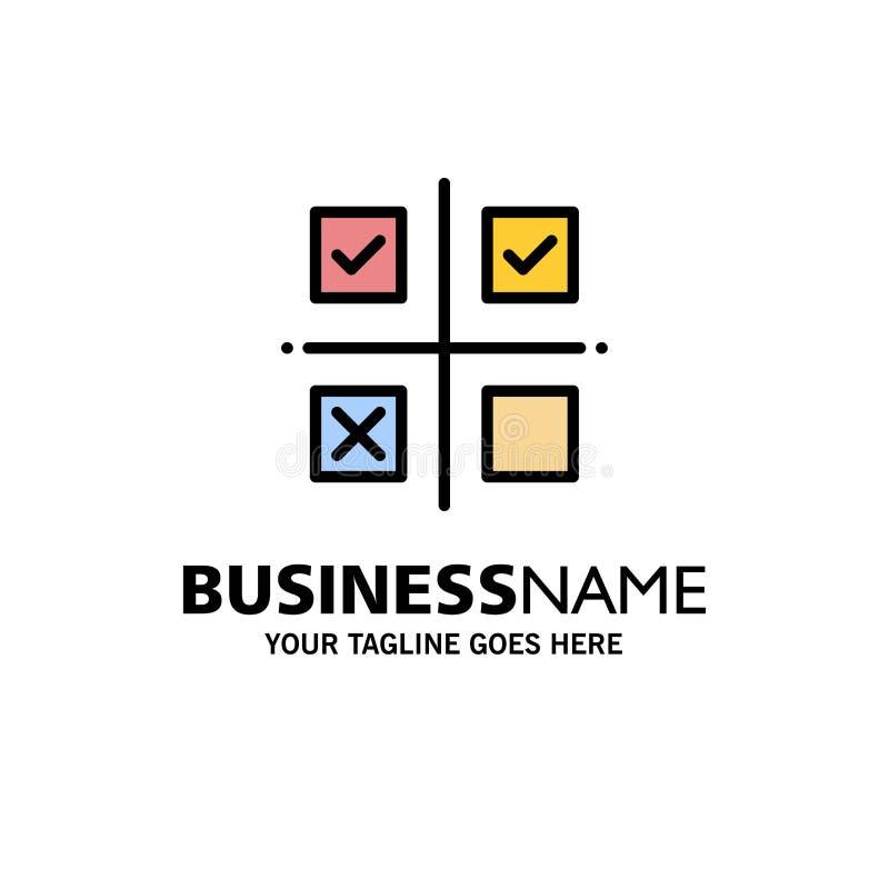Επιχείρηση, διαχείριση, προτεραιότητες, προϊόν, πρότυπο επιχειρησιακών λογότυπων παραγωγής Επίπεδο χρώμα διανυσματική απεικόνιση