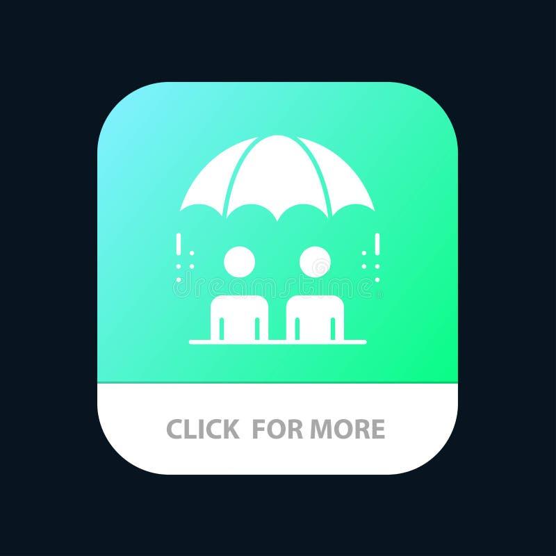 Επιχείρηση, διαχείριση, σύγχρονος, κινητό App κινδύνου κουμπί Αρρενωπή και IOS Glyph έκδοση ελεύθερη απεικόνιση δικαιώματος