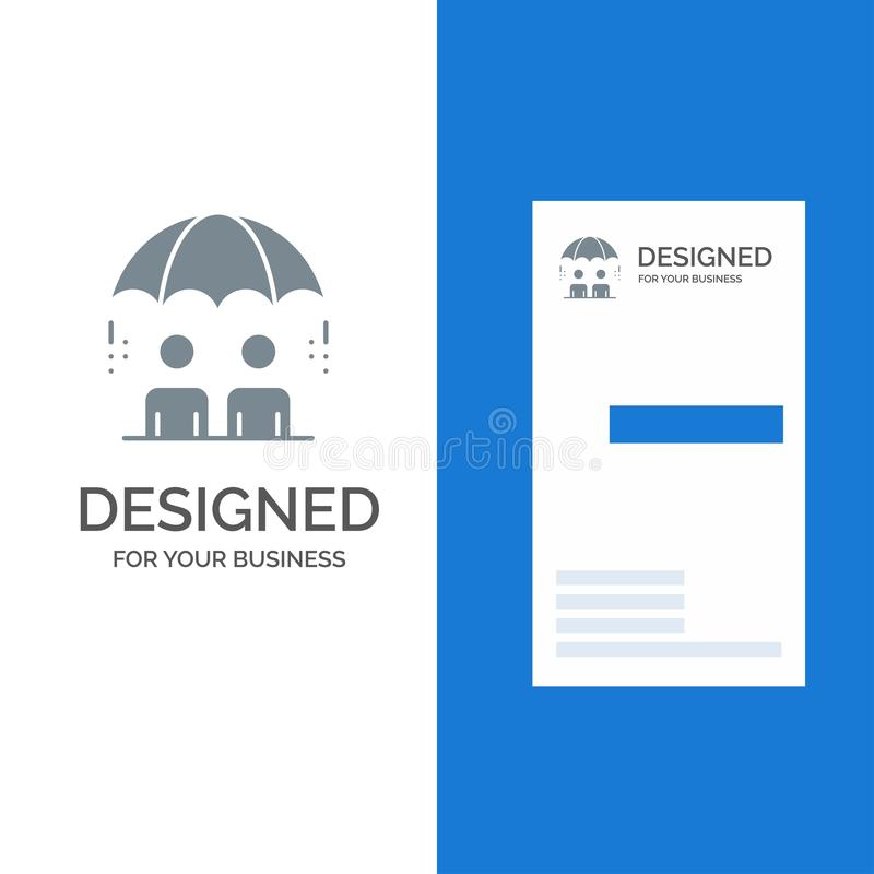 Επιχείρηση, διαχείριση, σύγχρονο, σχέδιο λογότυπων κινδύνου γκρίζο και πρότυπο επαγγελματικών καρτών απεικόνιση αποθεμάτων