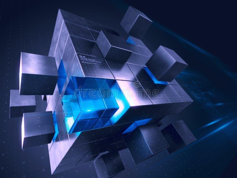 Επιχείρηση Διαδίκτυο τεχνολογίας και έννοια επικοινωνίας - κύβος που συγκεντρώνει από τους φραγμούς απεικόνιση αποθεμάτων