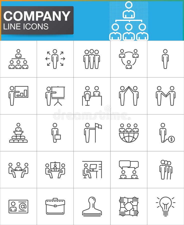 Επιχείρηση, εικονίδια γραμμών επιχειρηματιών καθορισμένα απεικόνιση αποθεμάτων