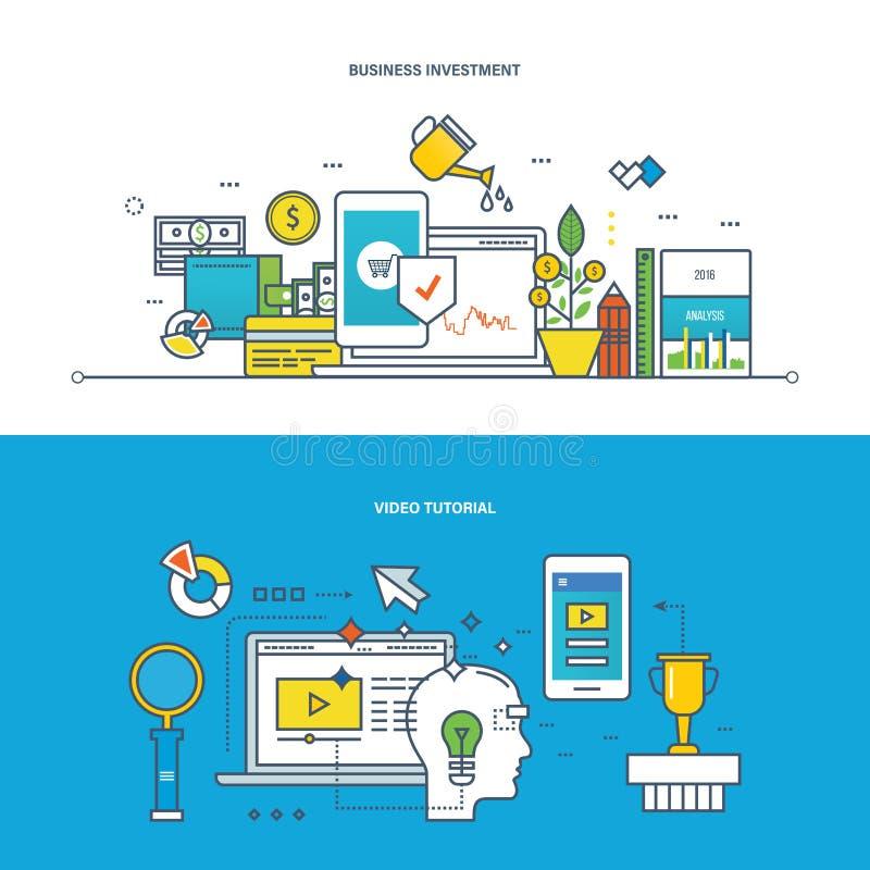 Επιχείρηση, επενδύσεις, financ, διαχείριση, σύγχρονο techology και εκμάθηση, εκπαίδευση διανυσματική απεικόνιση