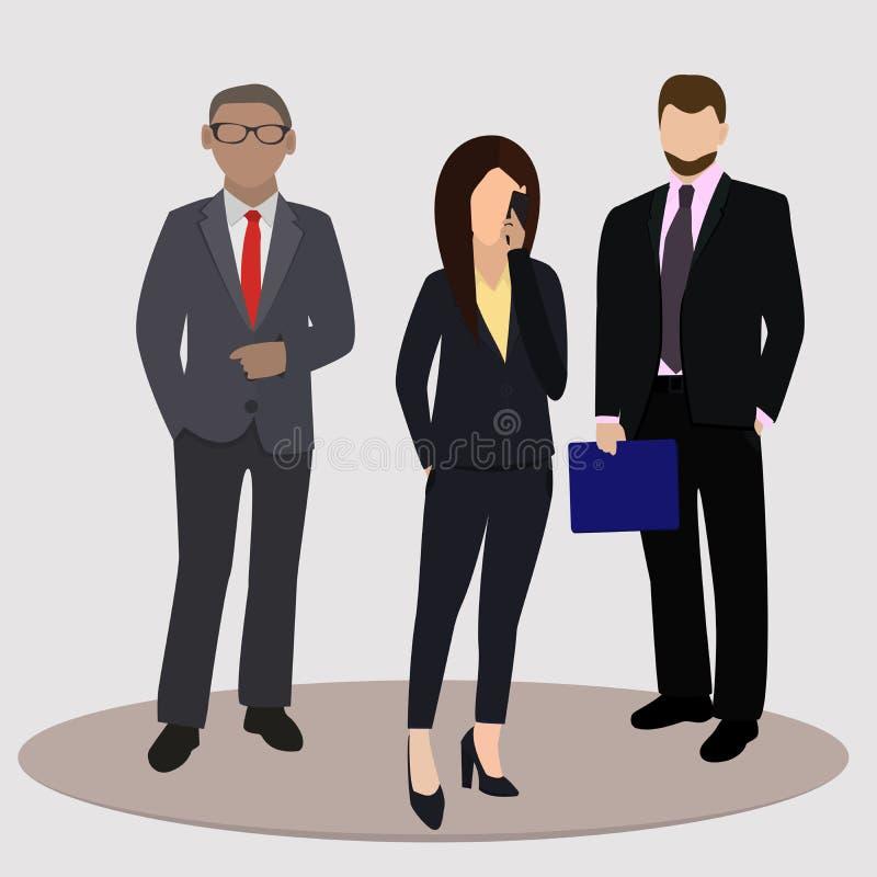 Επιχείρηση και έννοια γραφείων Επιχειρησιακή γυναίκα και άνδρας δύο επιχειρήσεων επίσης corel σύρετε το διάνυσμα απεικόνισης διανυσματική απεικόνιση