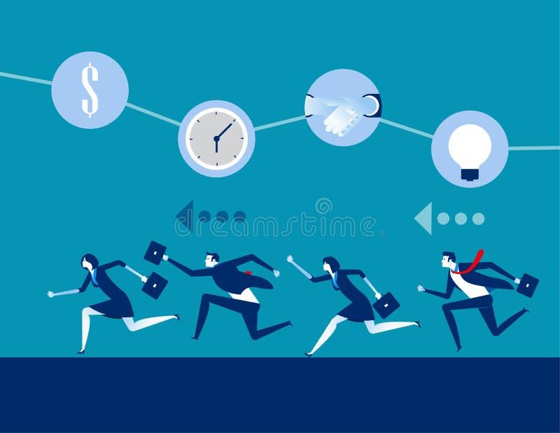 Επιχείρηση και ανταγωνισμός, επιχειρησιακή διανυσματική απεικόνιση έννοιας, επίπεδος επιχειρησιακός χαρακτήρας, σχέδιο ύφους κινο ελεύθερη απεικόνιση δικαιώματος