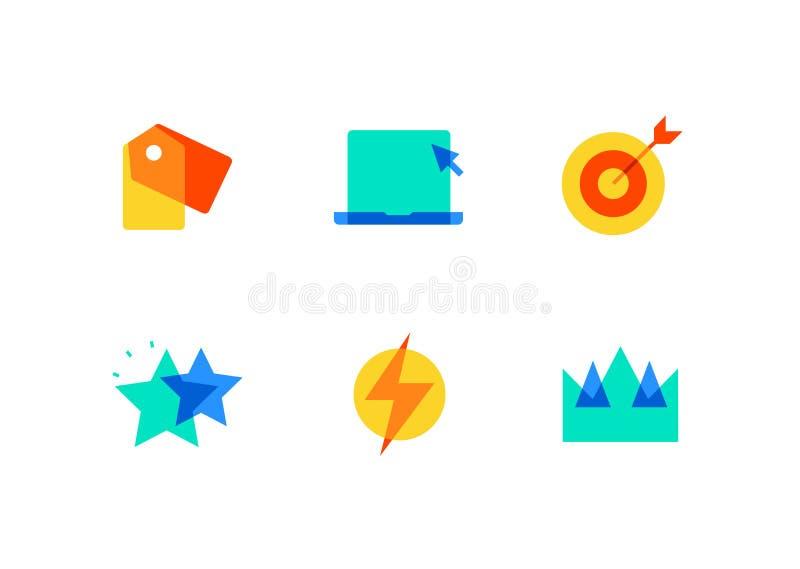 Επιχείρηση και διαχείριση - επίπεδα εικονίδια ύφους σχεδίου καθορισμένα ελεύθερη απεικόνιση δικαιώματος