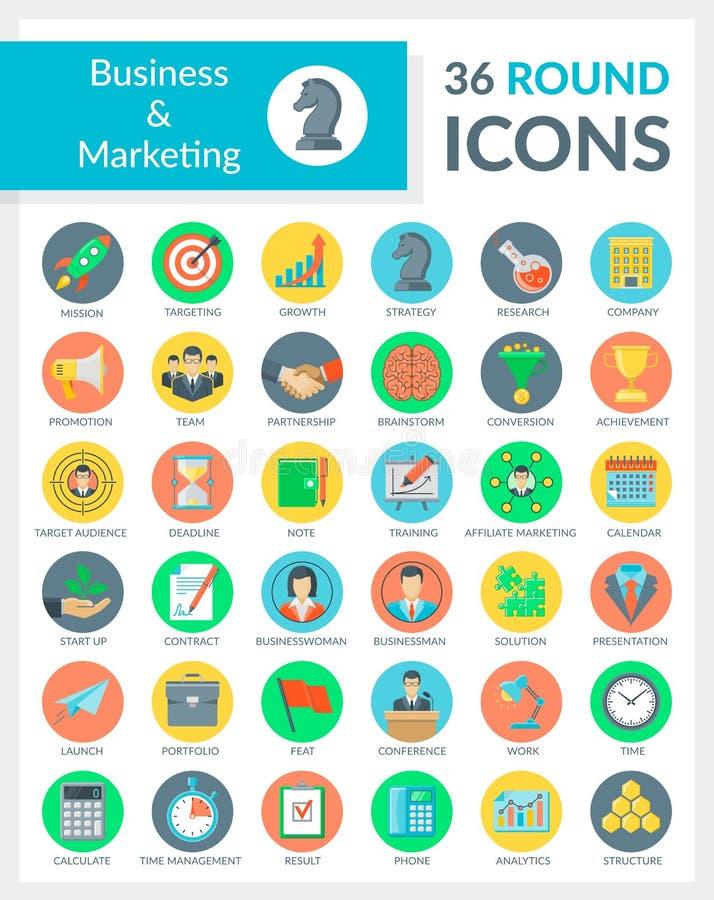Επιχείρηση και μάρκετινγκ γύρω από τα εικονίδια στοκ εικόνες