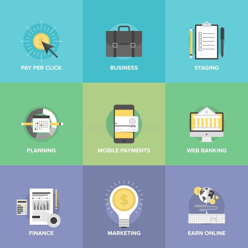 Επιχείρηση και οικονομικά εικονίδια υπηρεσιών Ιστού επίπεδα απεικόνιση αποθεμάτων