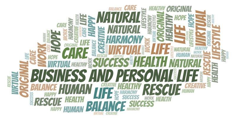 Επιχείρηση και προσωπικό σύννεφο λέξης ζωής διανυσματική απεικόνιση