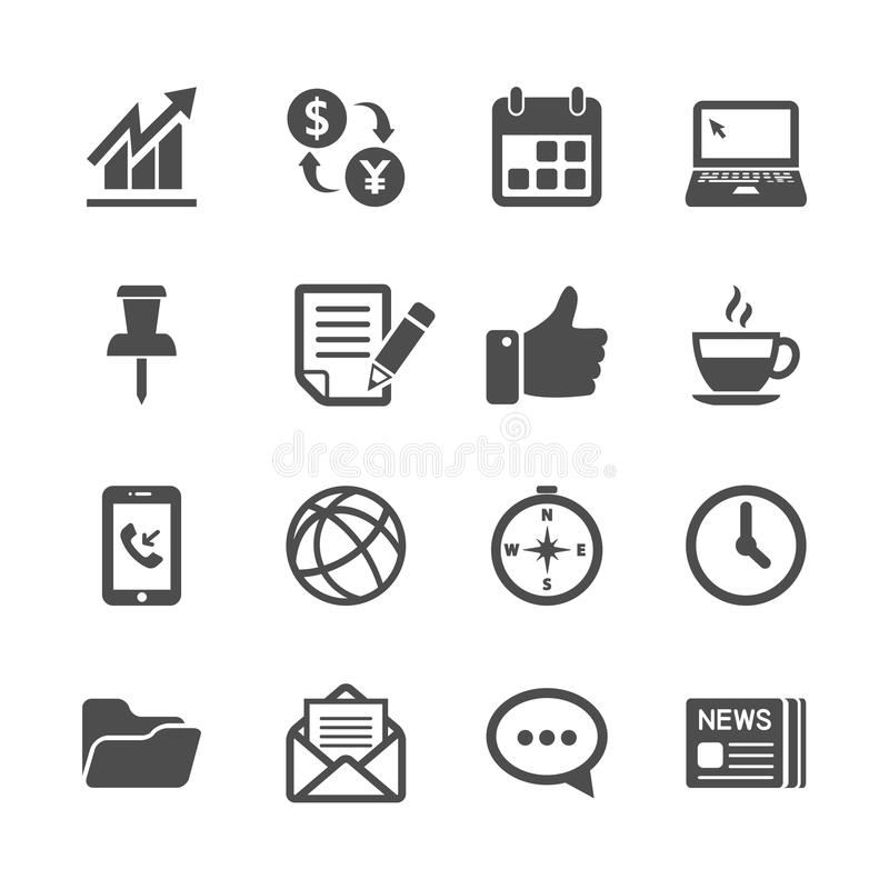 Επιχείρηση και σύνολο εικονιδίων εργασίας γραφείων, διανυσματικό eps10 διανυσματική απεικόνιση