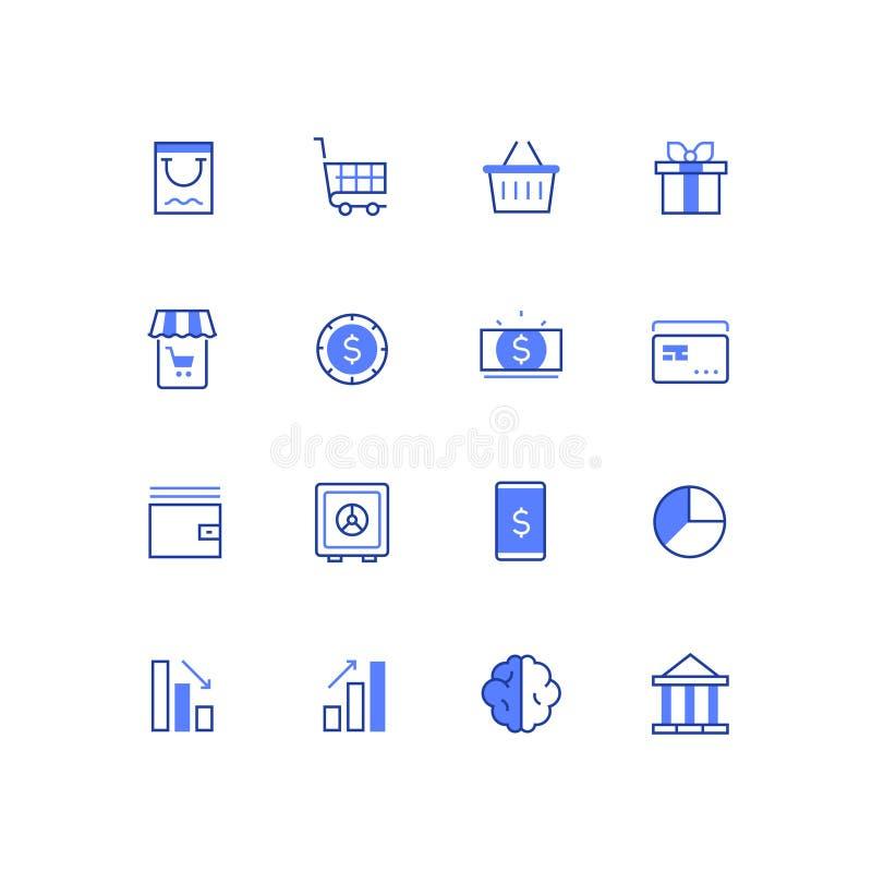 Επιχείρηση και χρηματοδότηση - εικονίδια ύφους σχεδίου γραμμών καθορισμένα απεικόνιση αποθεμάτων