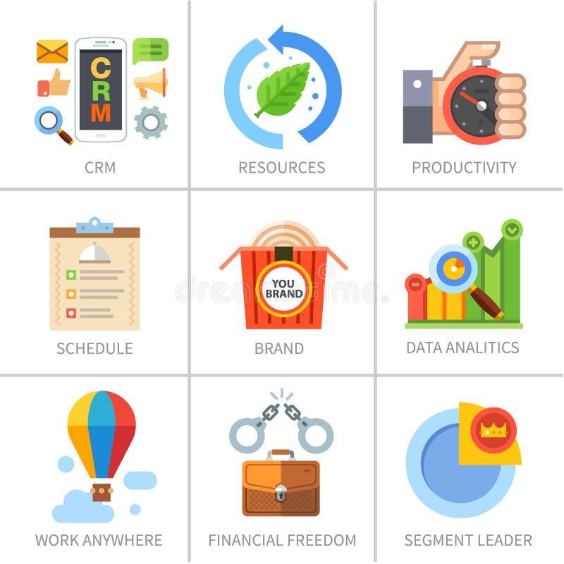 Επιχείρηση και χρηματοδότηση, μάρκετινγκ και διαχείριση διανυσματική απεικόνιση