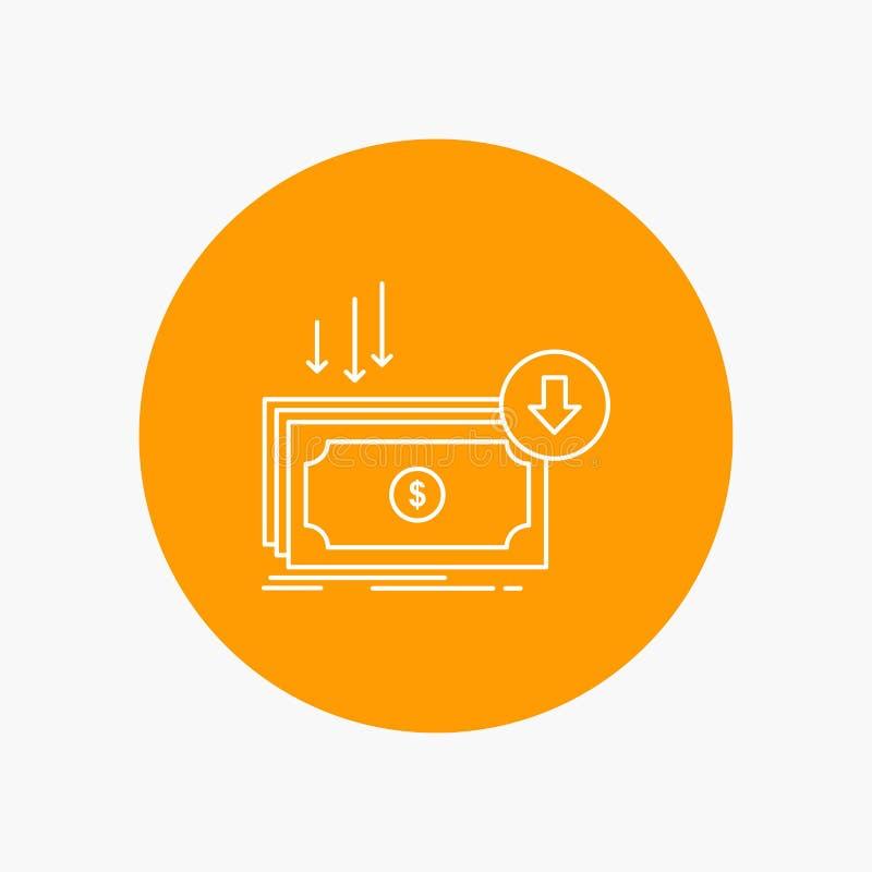 Επιχείρηση, κόστος, περικοπή, δαπάνη, χρηματοδότηση, άσπρο εικονίδιο γραμμών χρημάτων στο υπόβαθρο κύκλων διανυσματική απεικόνιση διανυσματική απεικόνιση