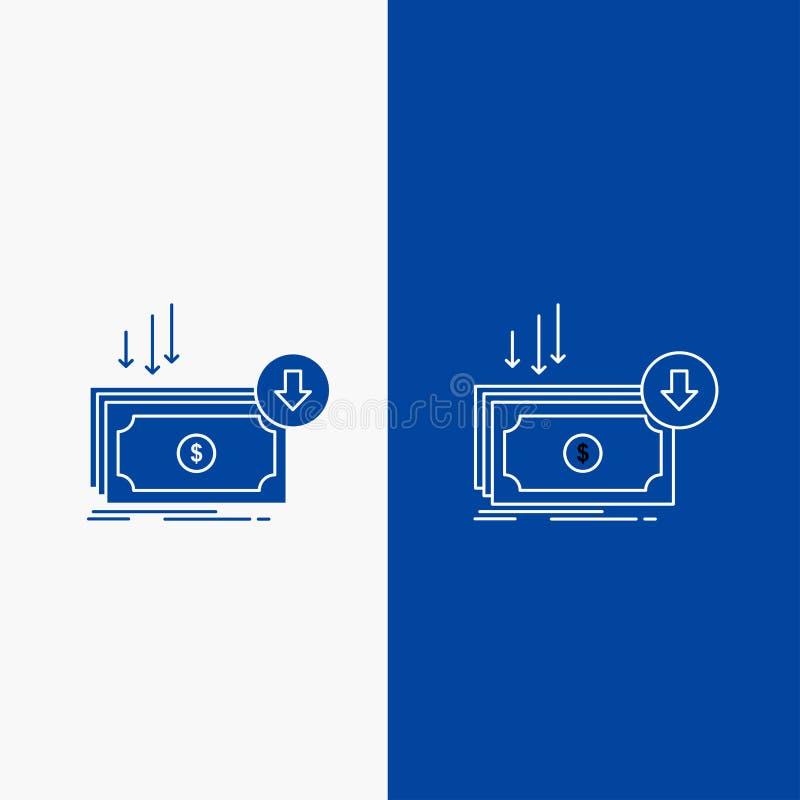 Επιχείρηση, κόστος, περικοπή, δαπάνη, χρηματοδότηση, γραμμή χρημάτων και κουμπί Ιστού Glyph στο μπλε κάθετο έμβλημα χρώματος για  απεικόνιση αποθεμάτων