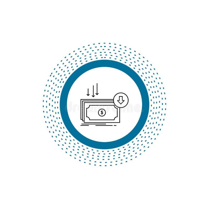Επιχείρηση, κόστος, περικοπή, δαπάνη, χρηματοδότηση, εικονίδιο γραμμών χρημάτων : απεικόνιση αποθεμάτων