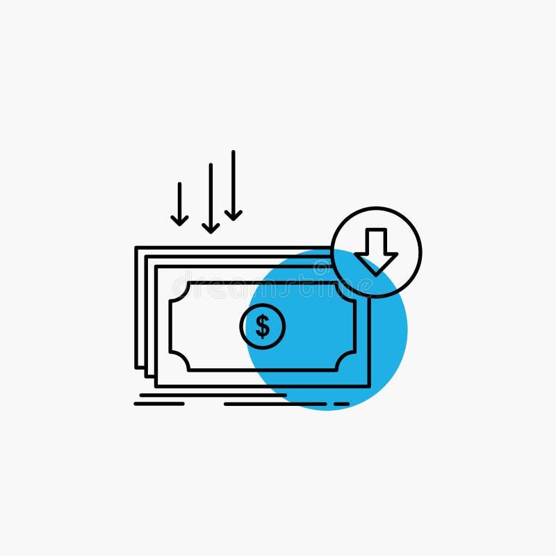 Επιχείρηση, κόστος, περικοπή, δαπάνη, χρηματοδότηση, εικονίδιο γραμμών χρημάτων διανυσματική απεικόνιση