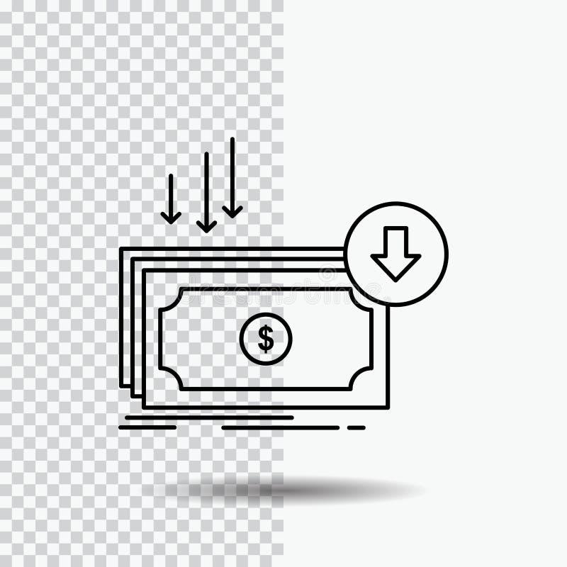 Επιχείρηση, κόστος, περικοπή, δαπάνη, χρηματοδότηση, εικονίδιο γραμμών χρημάτων στο διαφανές υπόβαθρο Μαύρη διανυσματική απεικόνι διανυσματική απεικόνιση