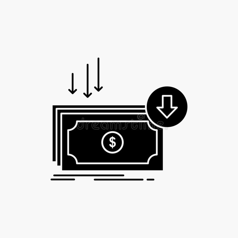 Επιχείρηση, κόστος, περικοπή, δαπάνη, χρηματοδότηση, εικονίδιο Glyph χρημάτων : διανυσματική απεικόνιση