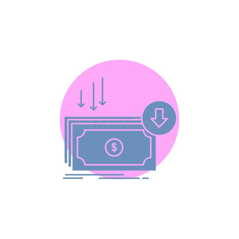 Επιχείρηση, κόστος, περικοπή, δαπάνη, χρηματοδότηση, εικονίδιο Glyph χρημάτων απεικόνιση αποθεμάτων