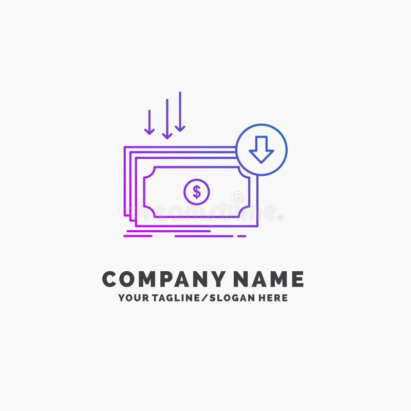 Επιχείρηση, κόστος, περικοπή, δαπάνη, χρηματοδότηση, πορφυρό πρότυπο επιχειρησιακών λογότυπων χρημάτων Θέση για Tagline απεικόνιση αποθεμάτων