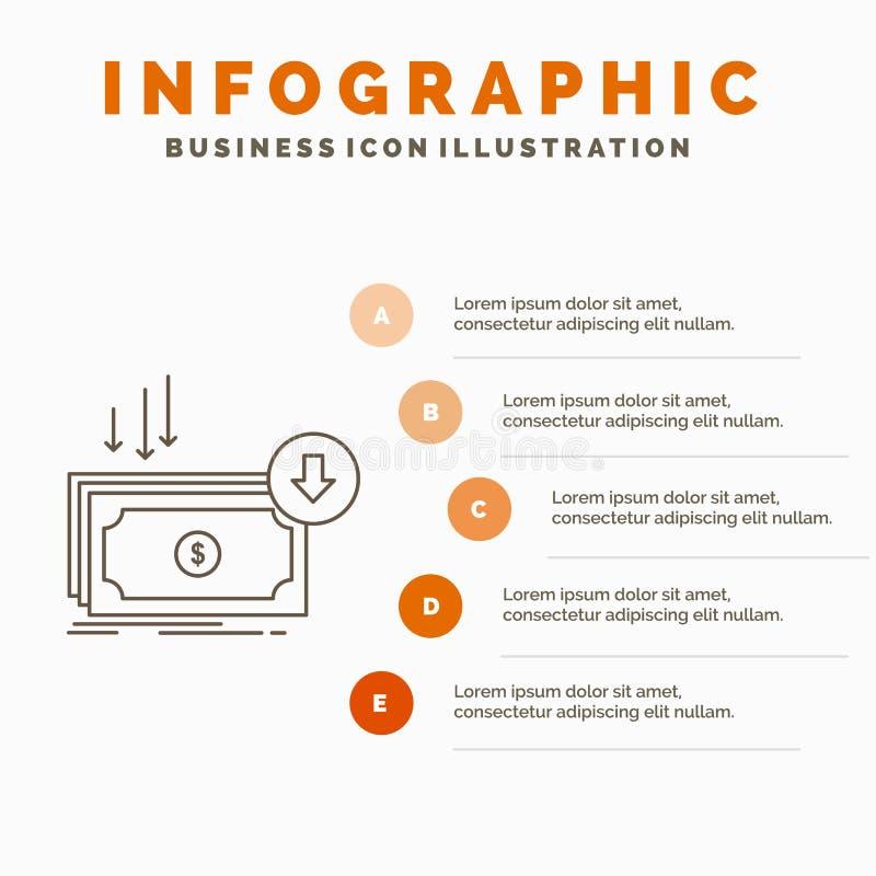 Επιχείρηση, κόστος, περικοπή, δαπάνη, χρηματοδότηση, πρότυπο Infographics χρημάτων για τον ιστοχώρο και παρουσίαση Γκρίζο εικονίδ διανυσματική απεικόνιση