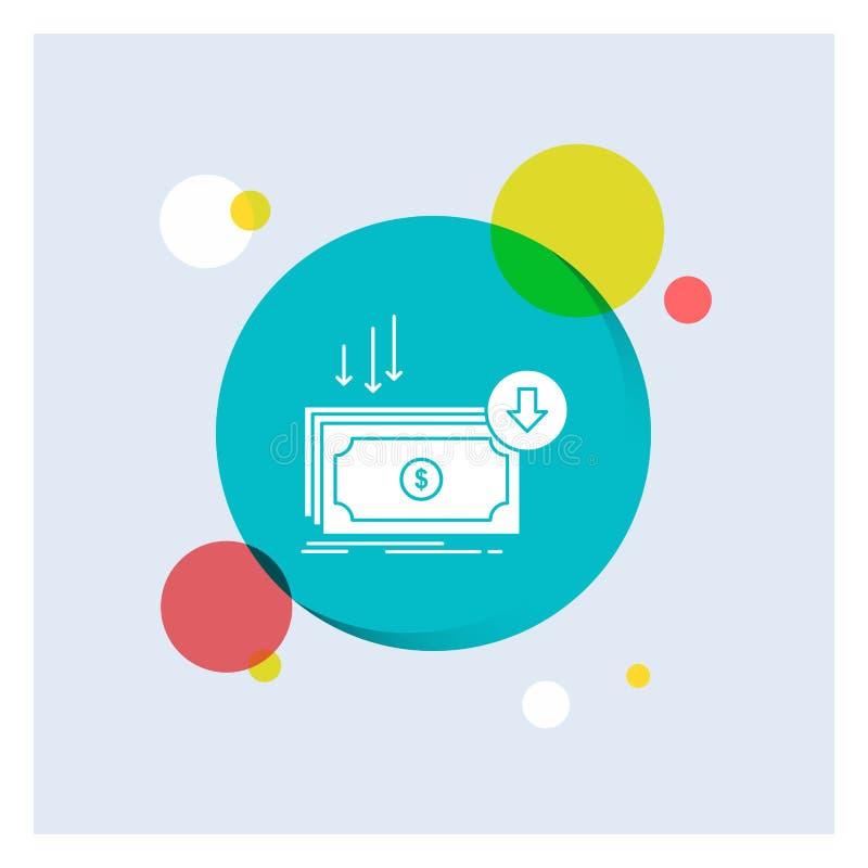 Επιχείρηση, κόστος, περικοπή, δαπάνη, χρηματοδότηση, χρημάτων άσπρο Glyph υπόβαθρο κύκλων εικονιδίων ζωηρόχρωμο απεικόνιση αποθεμάτων