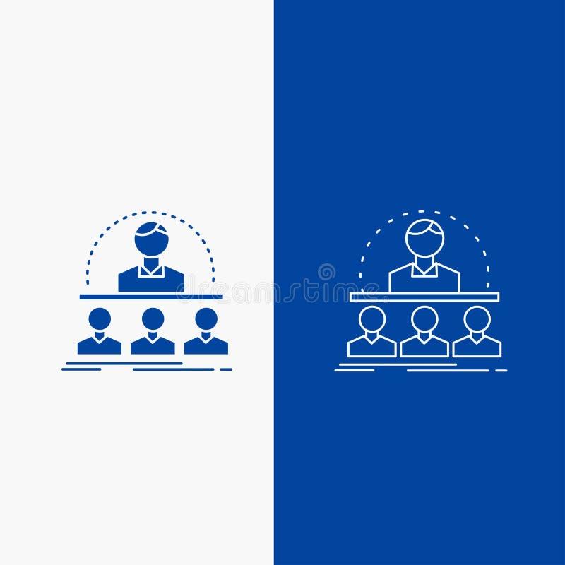 Επιχείρηση, λεωφορείο, σειρά μαθημάτων, εκπαιδευτικός, γραμμή συμβούλων και κουμπί Ιστού Glyph στο μπλε κάθετο έμβλημα χρώματος γ απεικόνιση αποθεμάτων