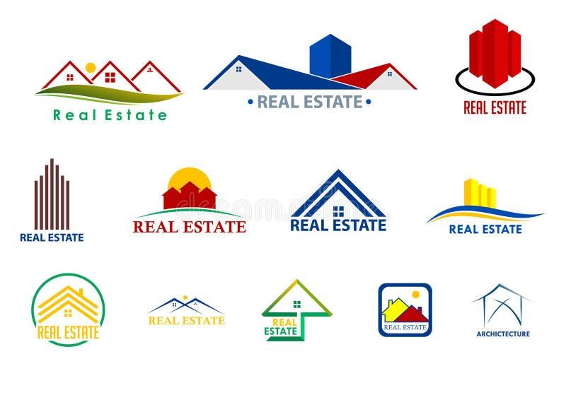 Επιχείρηση λογότυπων οπτικής τεχνολογίας και ακίνητων περιουσιών διανυσματική απεικόνιση