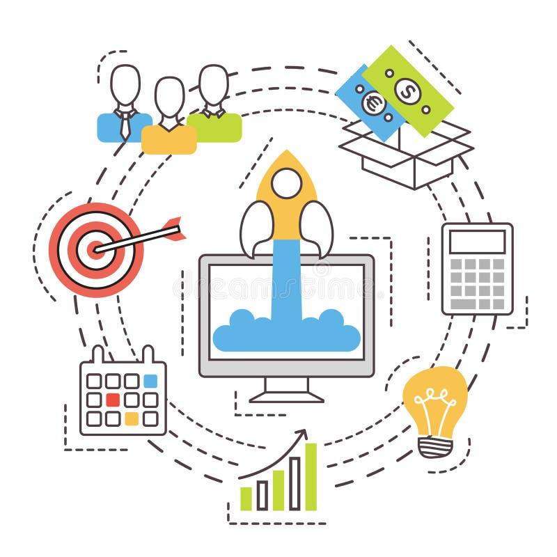 Επιχείρηση ξεκινήματος Ιδέα επένδυσης και χρηματοδότησης απεικόνιση αποθεμάτων