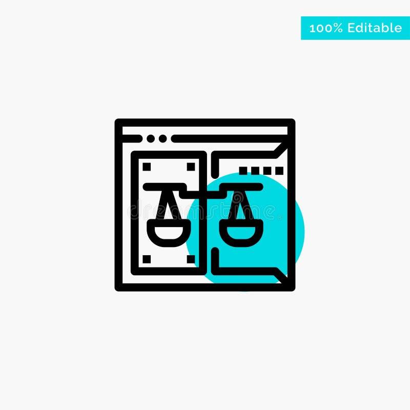 Επιχείρηση, πνευματικά δικαιώματα, δικαστήριο, ψηφιακός, διανυσματικό εικονίδιο σημείου κυριώτερων κύκλων νόμου τυρκουάζ διανυσματική απεικόνιση