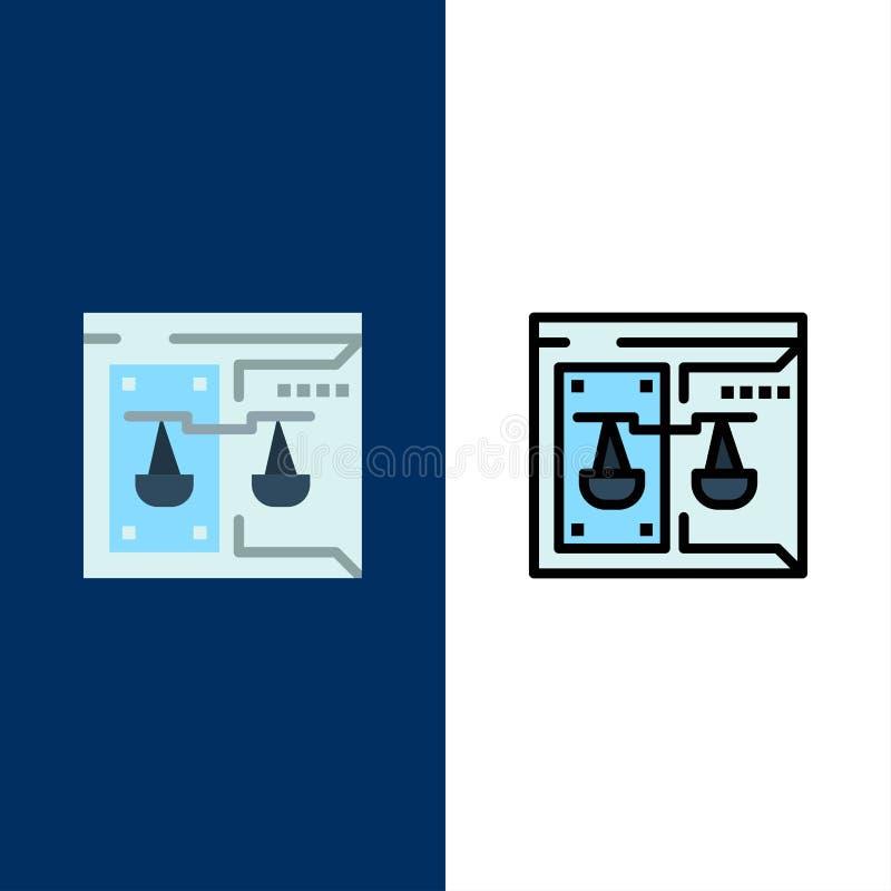 Επιχείρηση, πνευματικά δικαιώματα, δικαστήριο, ψηφιακός, εικονίδια νόμου Επίπεδος και γραμμή γέμισε το καθορισμένο διανυσματικό μ απεικόνιση αποθεμάτων