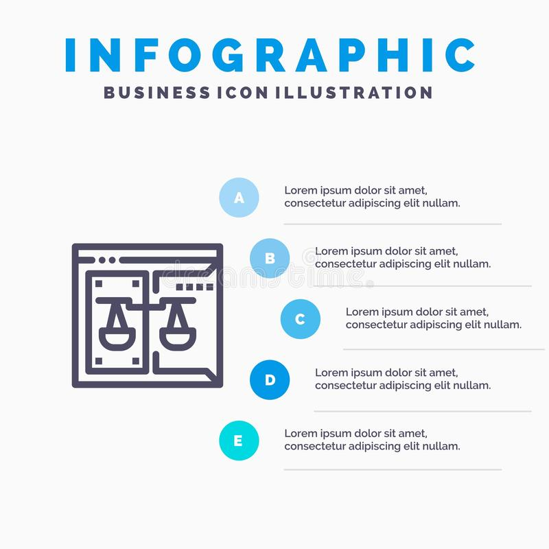 Επιχείρηση, πνευματικά δικαιώματα, δικαστήριο, ψηφιακός, εικονίδιο γραμμών νόμου με το υπόβαθρο infographics παρουσίασης 5 βημάτω διανυσματική απεικόνιση