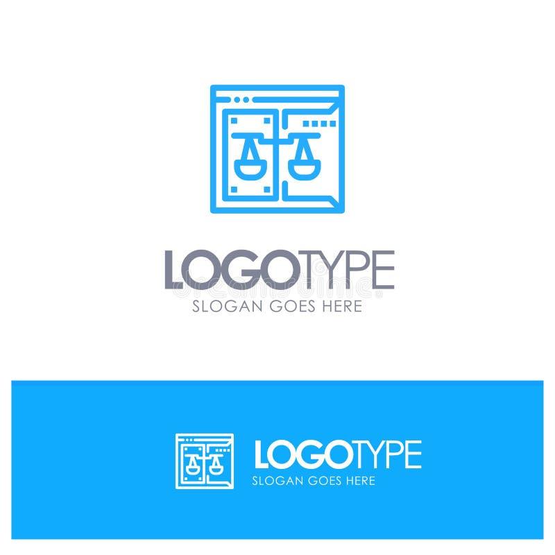 Επιχείρηση, πνευματικά δικαιώματα, δικαστήριο, ψηφιακός, μπλε λογότυπο περιλήψεων νόμου με τη θέση για το tagline απεικόνιση αποθεμάτων