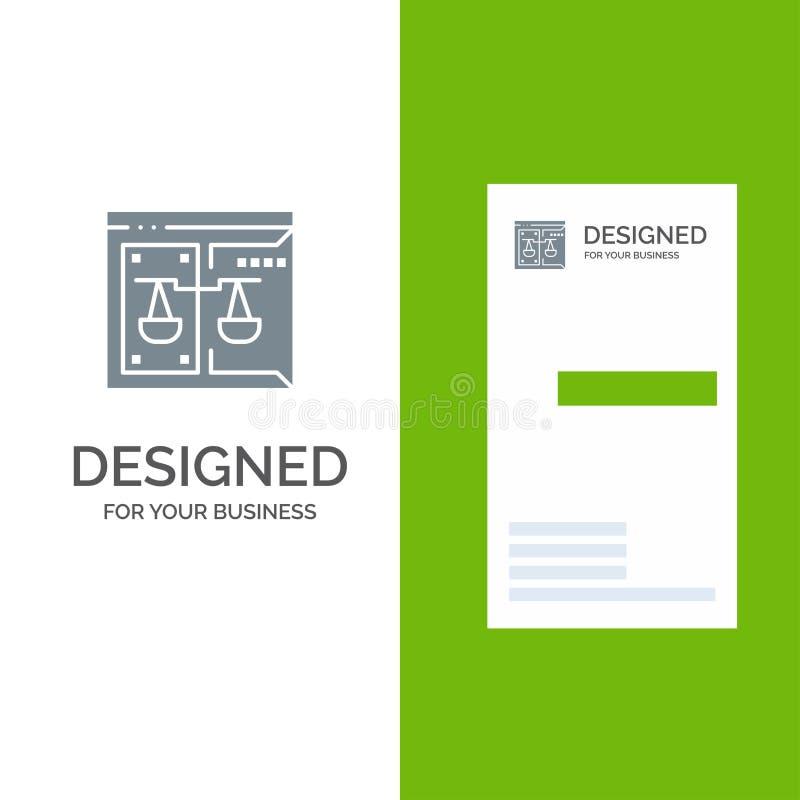 Επιχείρηση, πνευματικά δικαιώματα, δικαστήριο, ψηφιακό, σχέδιο λογότυπων νόμου γκρίζο και πρότυπο επαγγελματικών καρτών διανυσματική απεικόνιση