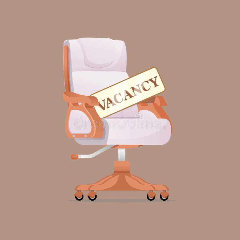 Επιχείρηση που μισθώνει και που στρατολογεί το κενό έννοιας Καρέκλα εργασίας και ένα σημάδι κενό απεικόνιση αποθεμάτων