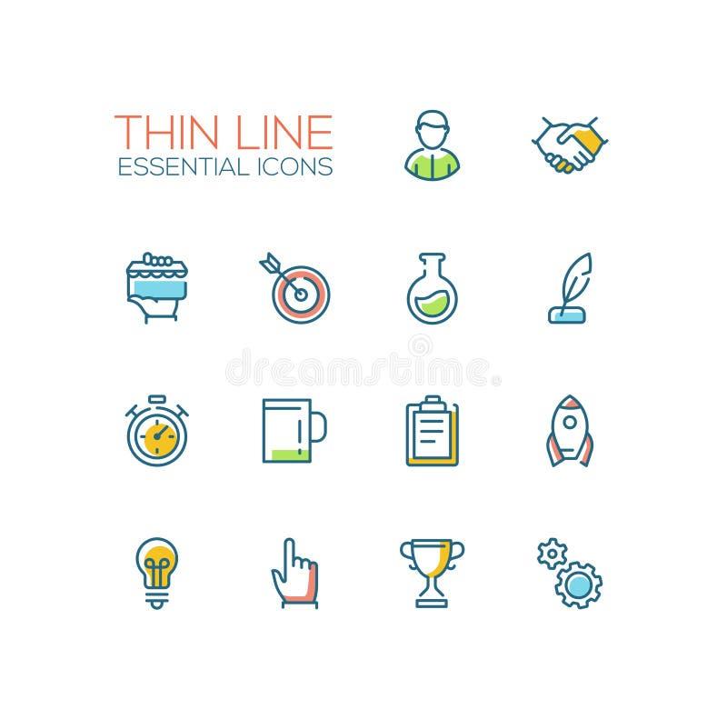 Επιχείρηση, σύμβολα χρηματοδότησης - παχιά εικονίδια σχεδίου γραμμών καθορισμένα διανυσματική απεικόνιση