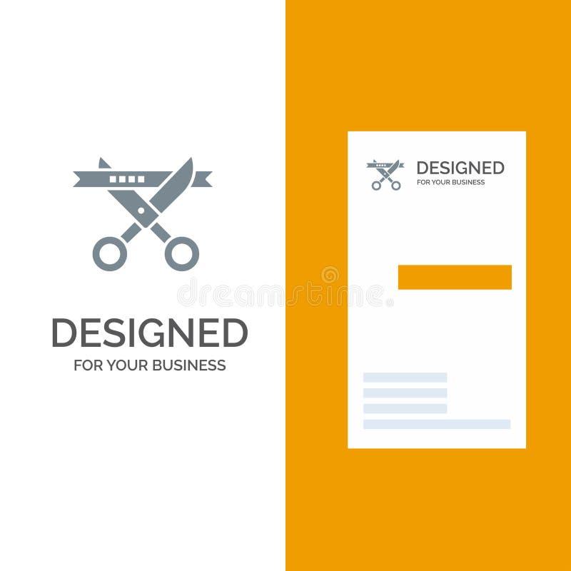 Επιχείρηση, τελετή, σύγχρονο, ανοίγοντας γκρίζο σχέδιο λογότυπων και πρότυπο επαγγελματικών καρτών διανυσματική απεικόνιση