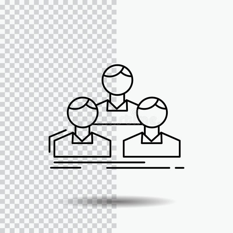 Επιχείρηση, υπάλληλος, ομάδα, άνθρωποι, εικονίδιο γραμμών ομάδων στο διαφανές υπόβαθρο Μαύρη διανυσματική απεικόνιση εικονιδίων ελεύθερη απεικόνιση δικαιώματος