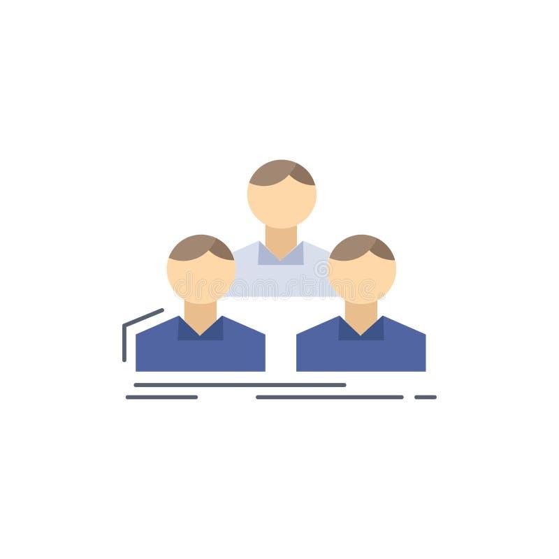 Επιχείρηση, υπάλληλος, ομάδα, άνθρωποι, επίπεδο διάνυσμα εικονιδίων χρώματος ομάδων ελεύθερη απεικόνιση δικαιώματος