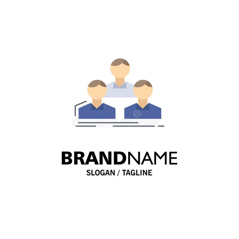 Επιχείρηση, υπάλληλος, ομάδα, άνθρωποι, επίπεδο διάνυσμα εικονιδίων χρώματος ομάδων απεικόνιση αποθεμάτων
