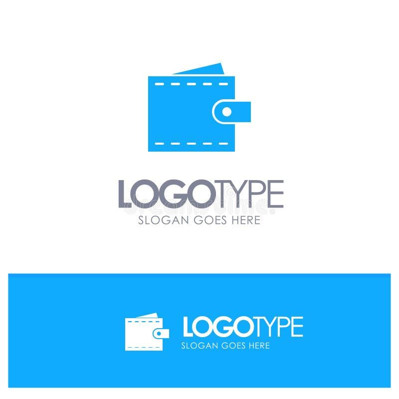 Επιχείρηση, χρηματοδότηση, διεπαφή, χρήστης, μπλε στερεό λογότυπο πορτοφολιών με τη θέση για το tagline ελεύθερη απεικόνιση δικαιώματος