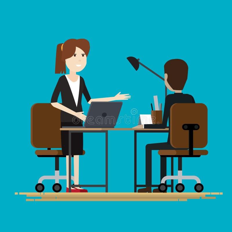 Επιχείρηση δύο άνθρωποι που μιλούν τους συνεργάτες διανυσματική απεικόνιση
