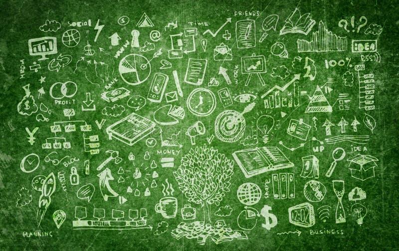 Επιχείρηση doodles στο σκούρο πράσινο υπόβαθρο απεικόνιση αποθεμάτων
