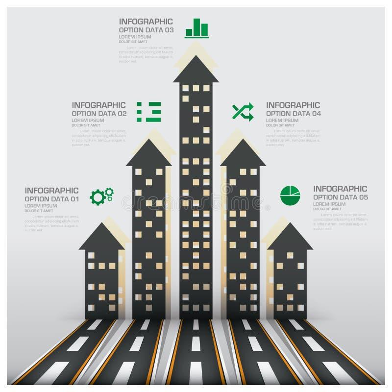 Επιχείρηση Infographic ακίνητων περιουσιών και ιδιοκτησίας με την οικοδόμηση Arro απεικόνιση αποθεμάτων