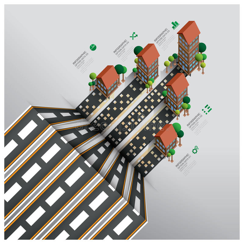 Επιχείρηση Infographic ακίνητων περιουσιών και ιδιοκτησίας με το δρόμο σε Isome απεικόνιση αποθεμάτων