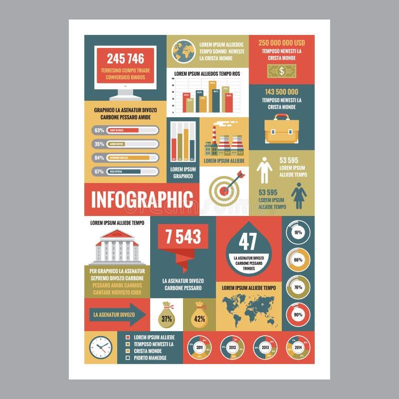 Επιχείρηση infographic - αφίσα μωσαϊκών με τα εικονίδια στο επίπεδο ύφος σχεδίου τα εικονογράμματα Διαδικτύου εικονιδίων που τίθε ελεύθερη απεικόνιση δικαιώματος